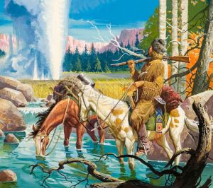 During the winter of 1807-1808, John Colter became the first known white person to step foot in what is now Yellowstone National Park. His escape from the Blackfeet Indians is said to make him a legend.