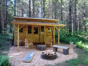 Yes, it looks like a small, quirky cabin. And it has tree furniture to go with it.