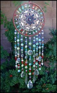 This one has rainbow beads and a lovely design. Wonder how long it took to make this.