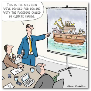 No, I don't think building an ark is a great way for adapting to climate change. Economists say that while preventing global warming is relatively cheap, they can't even estimate the accelerating costs of climate change if we do nothing.