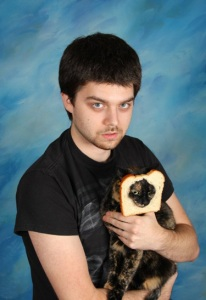 Yes, this guy has a cat going through a slice of bread. And yes, he seems like he could give you the creeps.