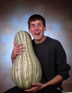 """Now that's one of the biggest gourds I've ever seen. And this guy is like, """"Prepare to be amazed by my gourd I fed with radioactive fertilizer."""""""