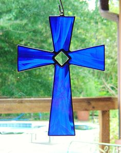 Yes, this is another cross suncatcher. But you have to love that brilliant blue on this one. So lovely.