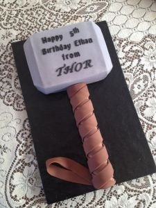 I know I've posted a Thor hammer cake before in last year's birthday cake post. Still, at least this one doesn't resemble anything phallic. At least as I see it.
