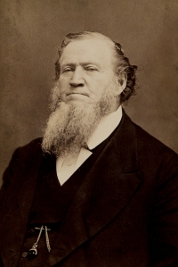 "Called by his Mormon followers as the ""American Moses"" Brigham Young led the Mormon pioneers in an exodus through the desert to what they saw as a promise land. Well, in this photo, he's certainly pulling the Moses bears look quite well. Also had 55 wives and 56 children whereas Moses only had one."