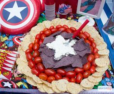 Includes two colors of chips, dip, and some cherry tomatoes. Not sure if Captain America eats Mexican though.