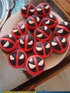 I don't know much about Deadpool. But I hear he's really popular. Also, these cupcakes have red filling and chocolate icing for the mask.