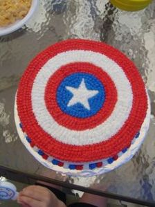 Well, this is probably the kind of Captain America cake you'd get at a bakery. I suppose the others were custom made.