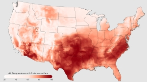 Here's a map of the US during a heat wave it experienced in 2011. Seems like Texas is a real red state in this like hotter than hell. And that state's politicians aren't known for their climate advocacy. Quite the opposite.