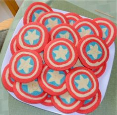 Okay, this is another set of Captain America cookies. But these don't have icing as you see.