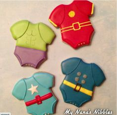 Of course, I'm sure the Avengers weren't wearing such outfits when they were little. Still, these are cute.