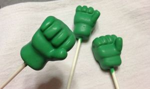 Yes, these are little Hulk hand cake pops. Not good for smashing. Though they might be delicious.