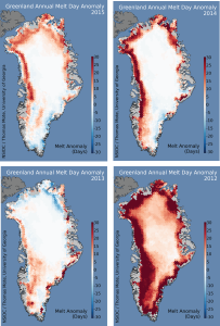 Greenland may never have been green since its icesheet was found to be over 400,000 years old. However, today because of climate change, Greenland is now extensively losing ice.