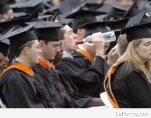 Let's hope this is a college graduation. Still, I think this guy with the bottle might have a problem.