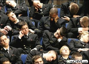 Apparently, not. Yes, these are of the military who are trained to combat enemy fire. But they can't seem to keep themselves awake during a commencement speech.