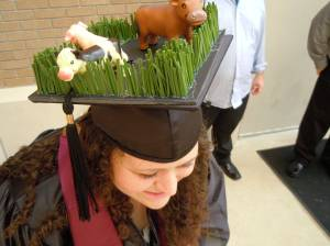 So she made her graduation cap into a pasture diorama. Interesting.