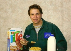 Yes, his Life cereal with 2% milk. Apparently, he'd rather get his photo session over with at breakfast.