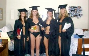 And it seems that this women didn't have a lot on them when they received their diplomas. Still, at least their underwear matches.