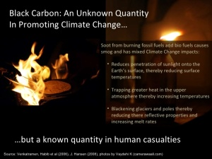 The effects of soot on global warming are unknown. However, the reduction of black carbon has more to do with it being a key contributor to air pollution and detrimental to human health.