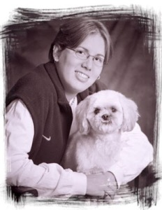 Except her dog really isn't enjoying this photo op. As you can see by how it shows its fangs.