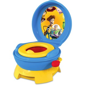 I'm sure your kid will be totally comfortable trying to take a dump while the toys are watching from the lid. Then again, probably not.