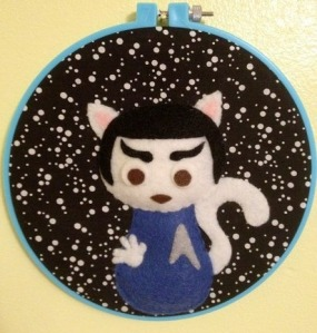 Yes, it's a Spock cat sampler hanging. And yes, it's as adorable as can be. He even makes the Vulcan sign with his paw.