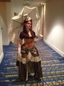 I should note that most Steampunk costumes aren't period accurate, especially women's outfits. While you see some women wear a dress like this, in the 19th century, this would've been viewed as obscene at best.