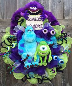 This is from Monsters Inc. a movie where monsters scare kids from their closet doors at night. Because it's their job.