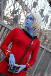 "The Andorians are noted for their blue skin, white hair, and antennae. They also tend to call humans ""pink skin."""