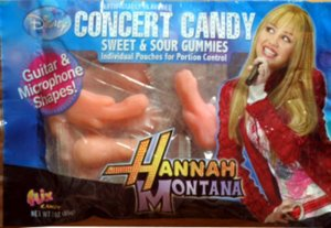 "From LOL WOT: ""While the Hannah Montana Concert Candy is billed as being gummies that are in the shape of guitars and microphones, you don't have to look that closely to see the rather phallic shape of these treats."""