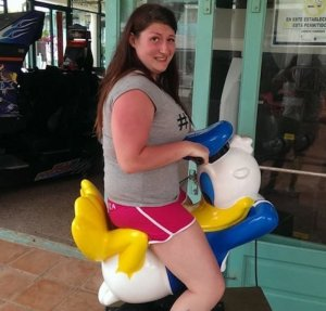 "From LOLWOT: ""While this ride is likely supposed to be Donald Duck just leaning back and relaxing, when someone sits on him, it looks like he's getting ready for something quite frisky."" Like the awkward look on that woman's face. It's priceless. If you think Donald's dirty in that, you should see him in the Three Caballeros."