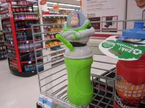 "From LOL WOT: ""When it comes to this sippy cup, it's not just the incredibly unfortunate placement of the straw, but it's also the crossed arms and self-satisfied look on Buzz's face that makes this such a terrible item."" Oh, my God, I guess the merchandise people at Disney didn't think this one through in the least bit."