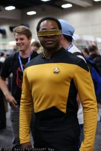 Notably played by LeVar Burton, LaForge has his own visor due to being born blind. Is an engineering whiz, nice guy, and Data's best friend.