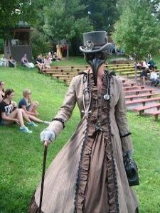 And she seems like a plague doctor at that. After all, she has a stethescope, gloves, and a mask that makes her look like Big Bird's evil twin.