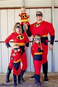 Yes, this a family dressed as the Incredibles. And the baby is the most dangerous member. Really, Jack Jack actually killed a guy.