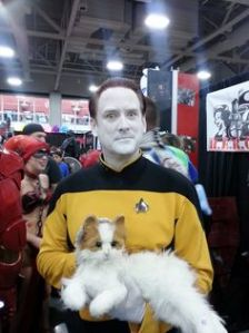 His cat's name is Spot and is in TNG for the last 4 seasons. It's also a female and has kittens.