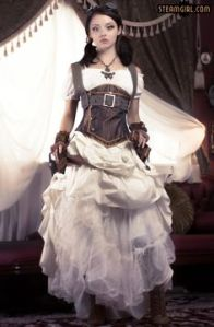Yes, this is a steampunk dress all right. Like her butterfly necklace and goggles.