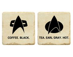 Guess one's for black coffee and the other's for hot tea. And the Starfleet insignia looks different on each.