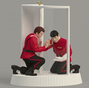 Because nothing brings out the joy of Christmas seeing Kirk and Spock saying goodbye before Spock sacrifices his life for the crew. Sure he gets better, but, Hallmark, is this an appropriate Christmas ornament? Really?