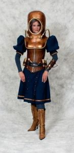 Well, this is a steampunk diving outfit for women. As you see, it's very impractical since it's a combination of a old timey diving suit and a Victorian swimsuit.