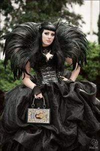 Man, that's a big dress. Wonder if she could get it through the door. Like the feathers though.
