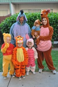 This family seems rather well dressed as the cast from Winnie the Pooh. Too bad they couldn't include Rabbit. But what's not to love?