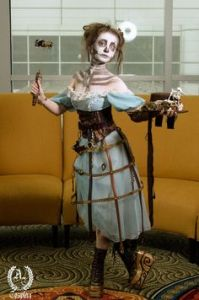 Yes, this is a Steampunk zombie girl. Looks deathly pale as if she's had the life sucked out of her.