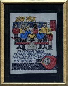 This one features the original cast as well as the words you hear from Kirk in the theme. Has a lot of detail as you see.