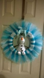 Yes, he may be annoying and wants to see summer. But you have to like this wreath of him made of tulle.