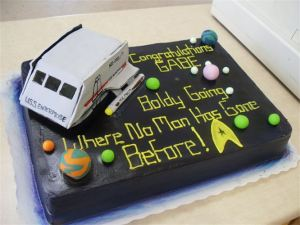 And this seems like a rather nice cake. However, you don't really see the shuttles on the show very often since they tend to beam up a lot in the transporter.