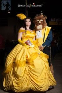 Yes, this is Belle and the Beast all right. Love the yellow dress. And that beast doesn't look shabby either.