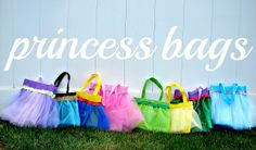 Each one has its own Disney Princess tutu. Those familiar with Disney can tell which princess is depicted in which.