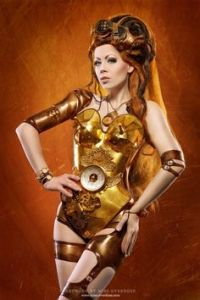 Not sure if it makes her a steampunk C-3PO. But she does have a clock on her chest to tell the time of day.
