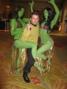 Well, given Kirk's reputation, this should be expected. His green girl fetish is a running gag in the new Star Trek movies, which I think is appropriate.